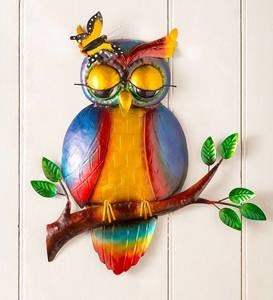 Handcrafted Metal Sleepy Owl Wall Art