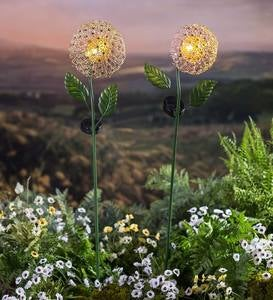 Solar Lighted Dandelion Garden Stakes, Set of 2