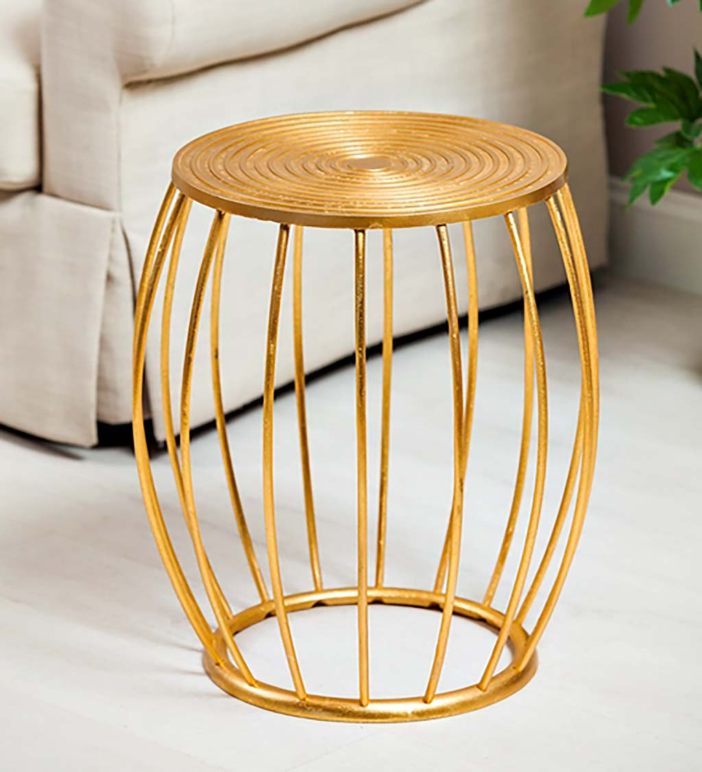 Casted Aluminum Stool with Gold Finish - Gold