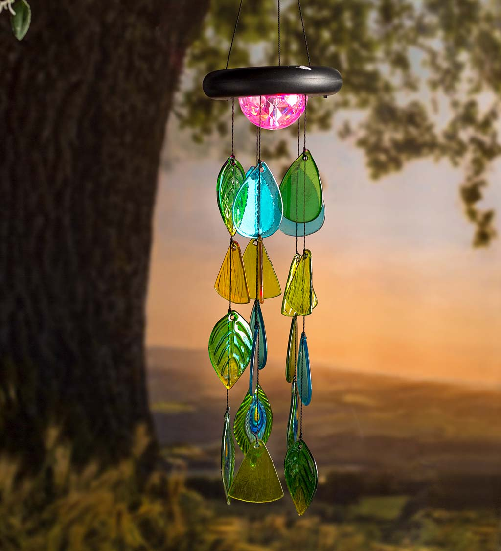 Solar Lighted Glass Leaves Wind Chime Mobile