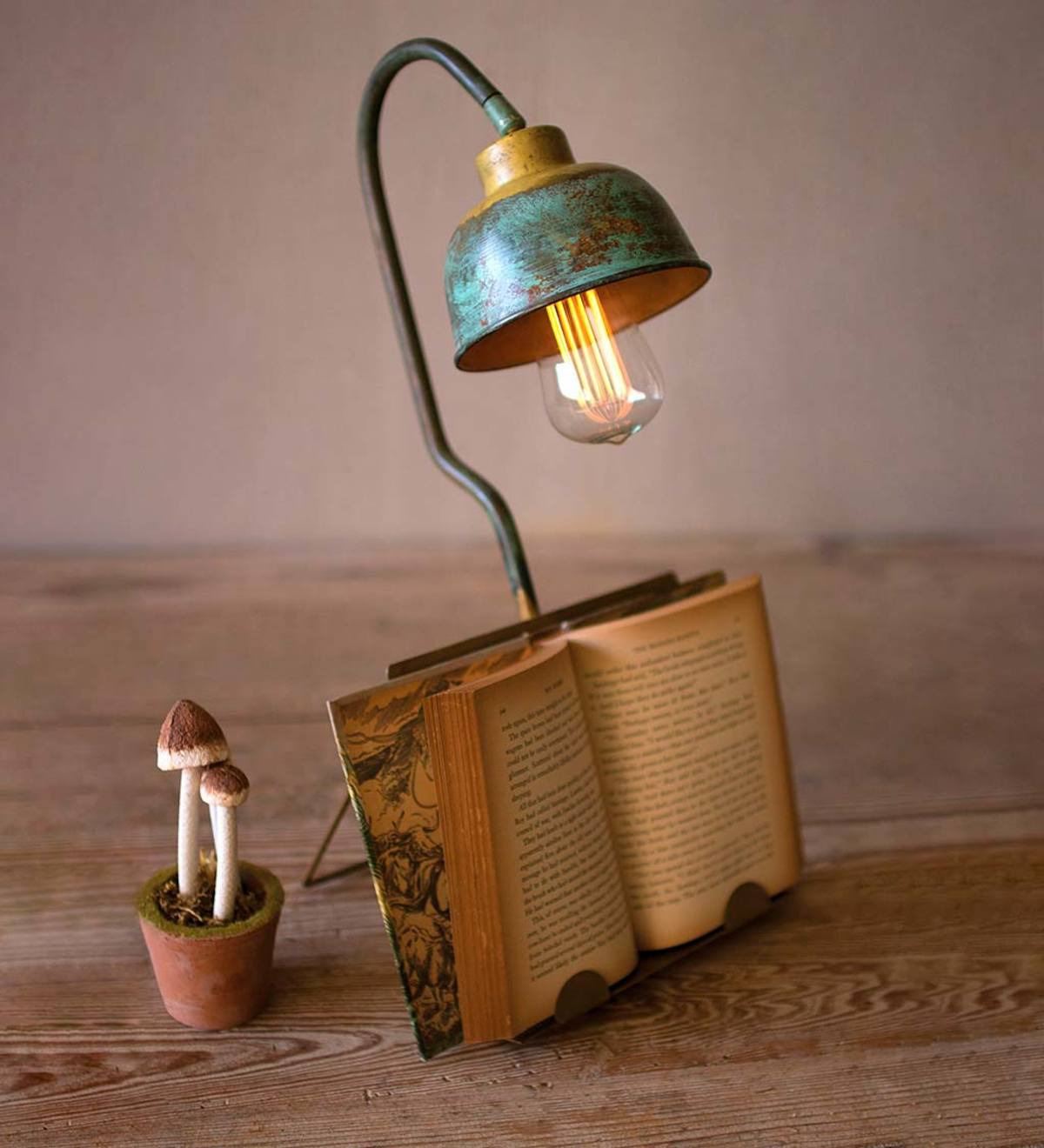 Metal Table Lamp with Book Holder