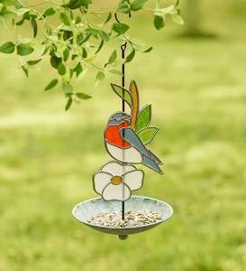 Stained Glass Bluebird Bird Feeder