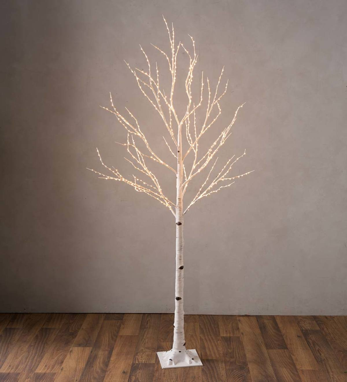 Large Indoor/Outdoor Birch Tree with 600 Warm White Lights - White
