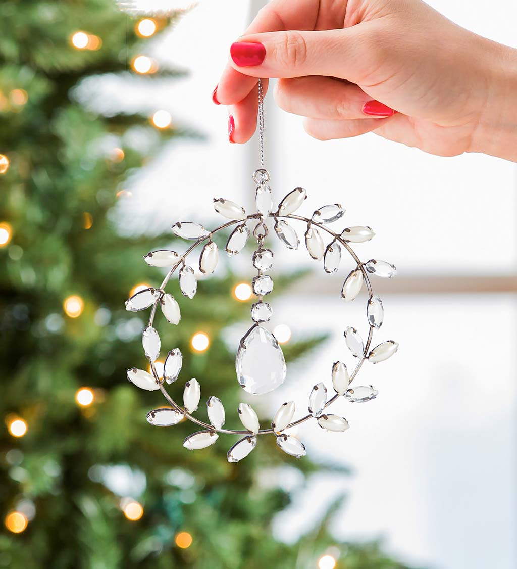 Crystal Leaves Metal Wreath Ornament