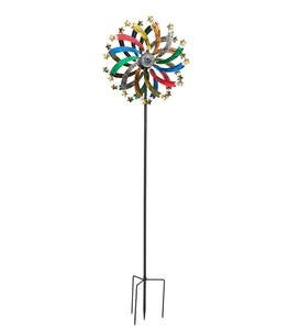 Multi-Colored Metal Wind Spinner with Stars and Solar Lights