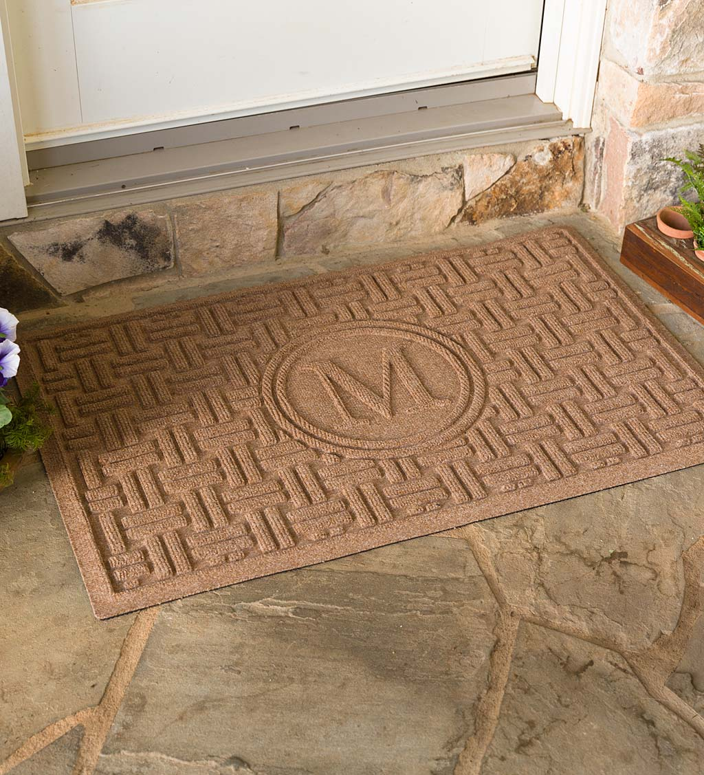 Waterhog Basket Weave Doormat with Single Initial, 2' x 3' - Camel