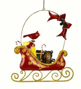 Santa's Sleigh with Cardinal Metal Wall Décor