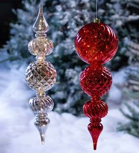 Indoor/Outdoor Lighted Large Shatterproof Holiday Finial Hanging Ornament