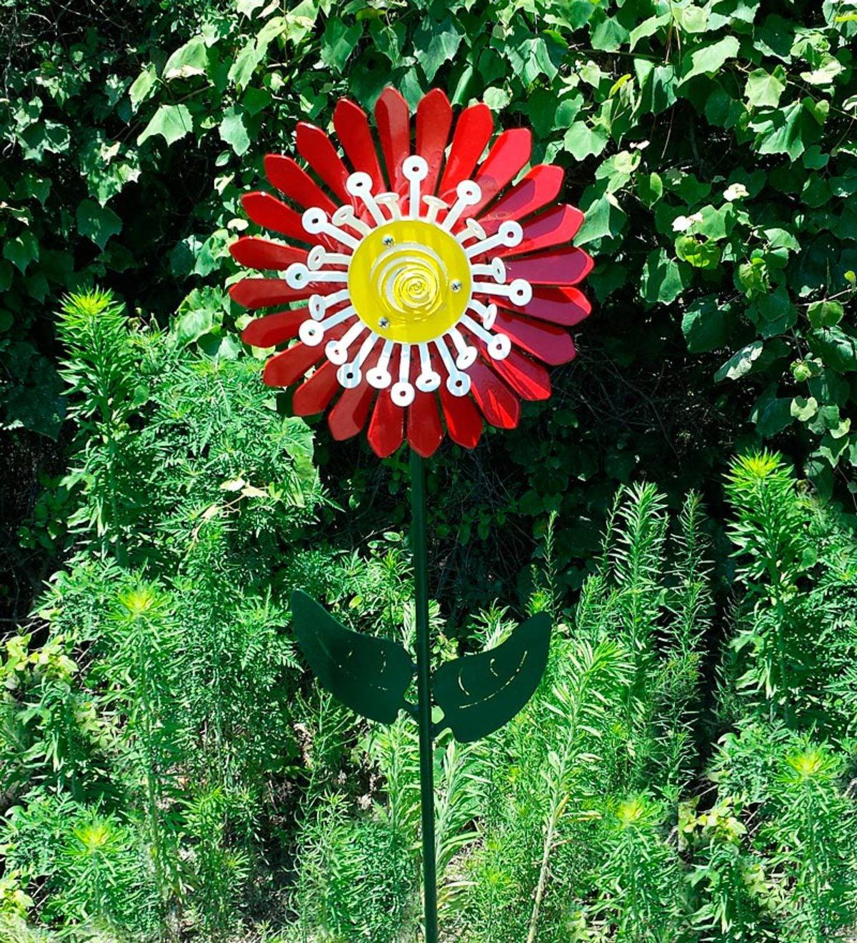Handcrafted Steel Flower Whirligig