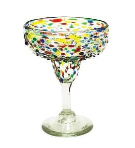 Handcrafted Recycled Glass Confetti Margarita Glasses, Set of 4