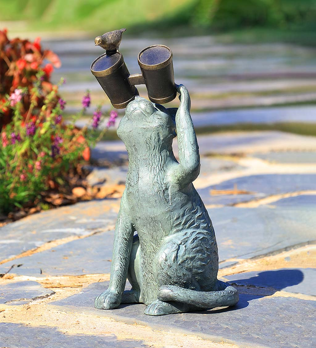 Handcrafted Observant Cat with Binoculars and Bird Sculpture