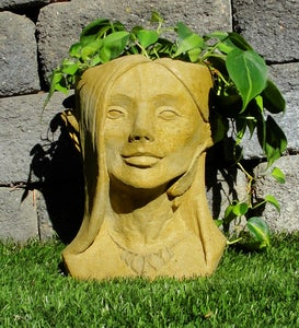 Cast Stone Fairy Head Planter
