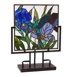 Lighted Stained Glass Iris Panel