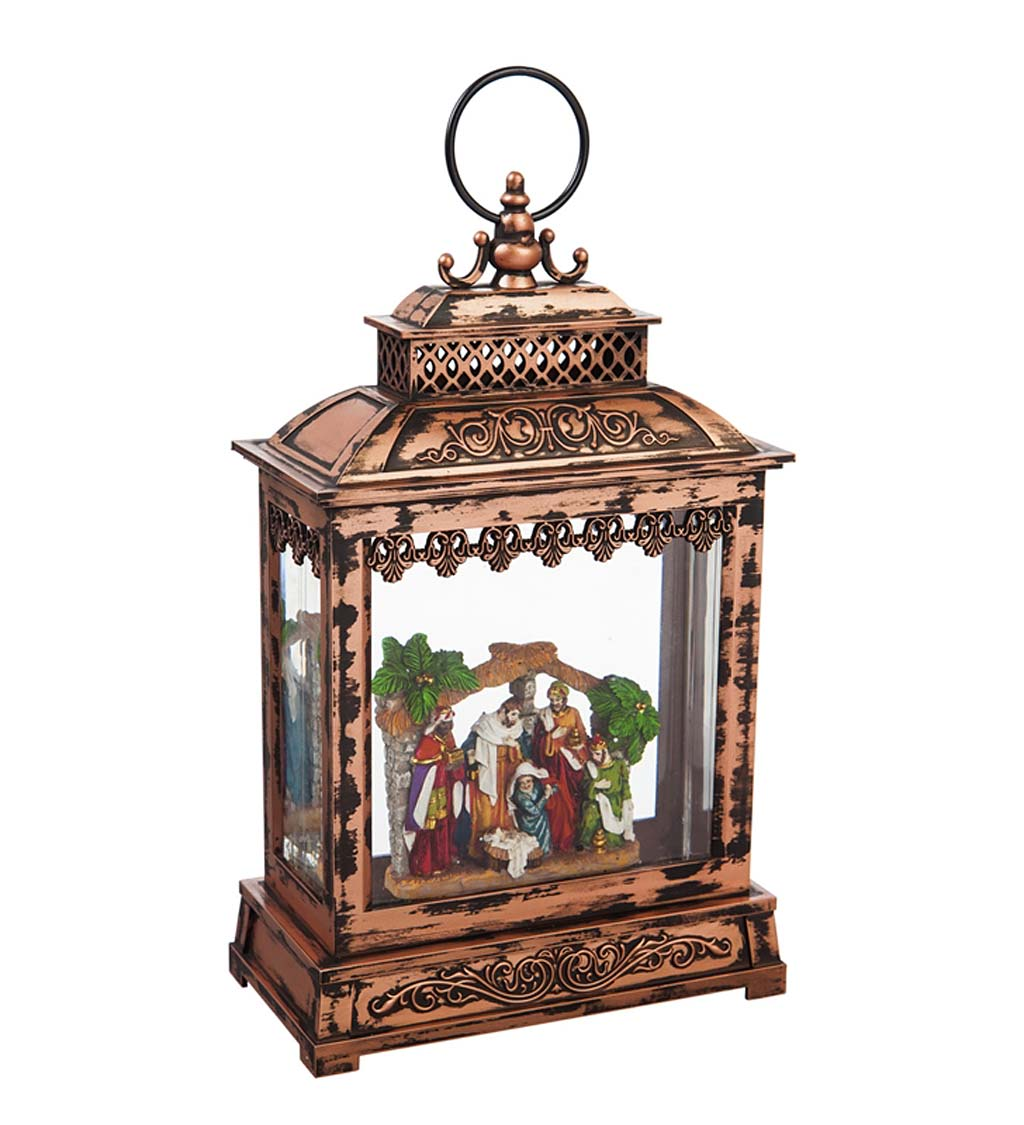 Nativity LED Lantern with Spinning Action Table Decor