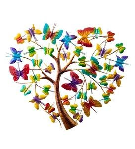 Handcrafted Colorful Metal Butterfly Heart Tree Wall Art