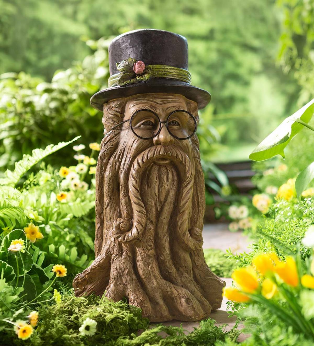 Resin Indoor/Outdoor Tree Man with Hat Garden Sculpture