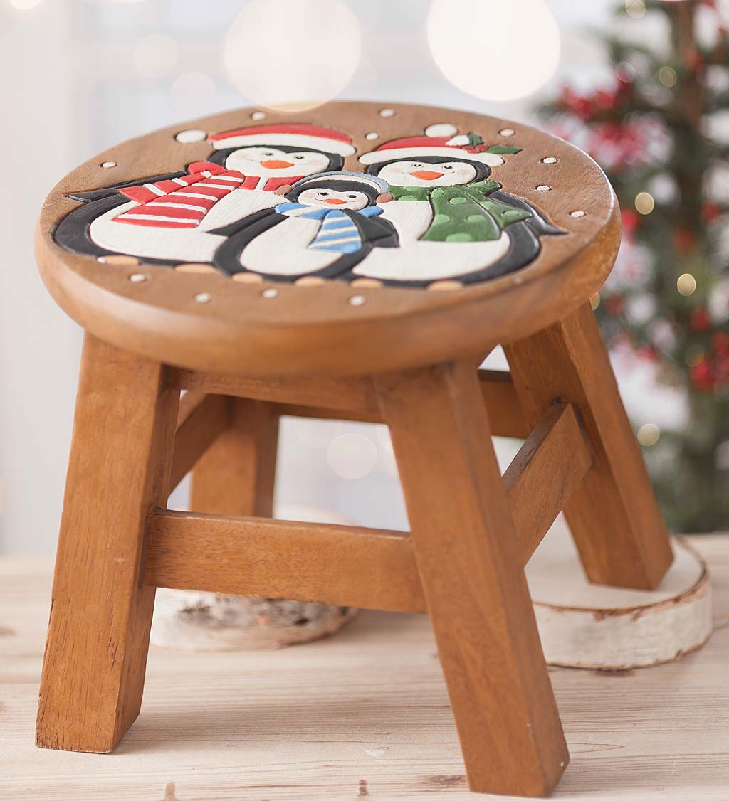 Wooden Holiday Footstool