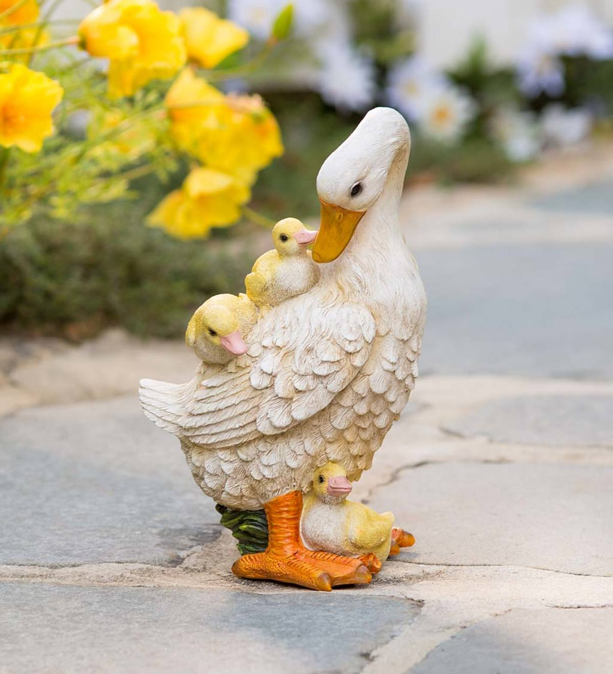 Mama Duck with Ducklings Statue