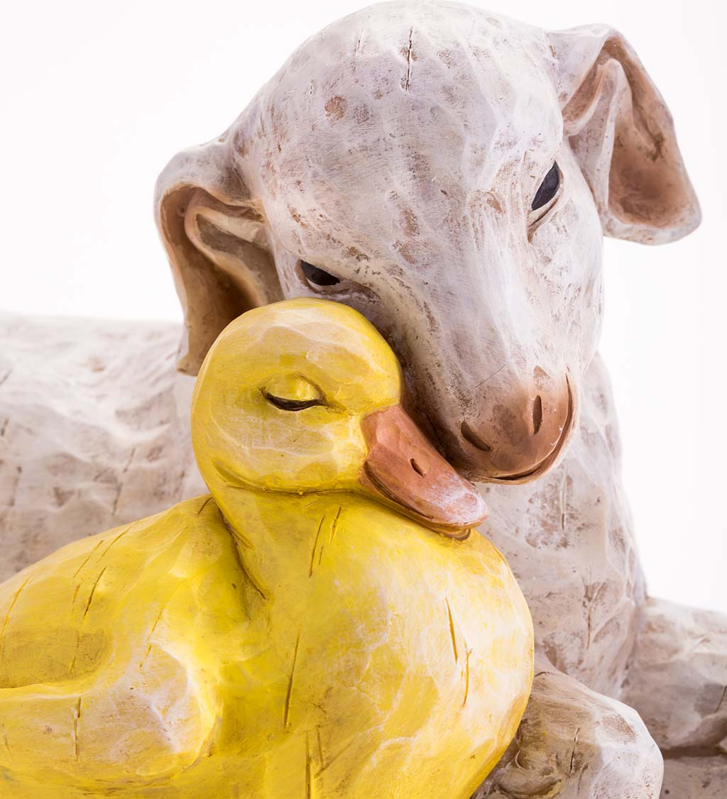 Goat and Duckling Resin Statue With Look of Carved Wood