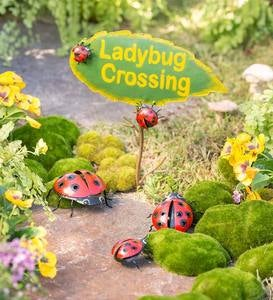 4-Piece Metal Ladybug Crossing Garden Decoration