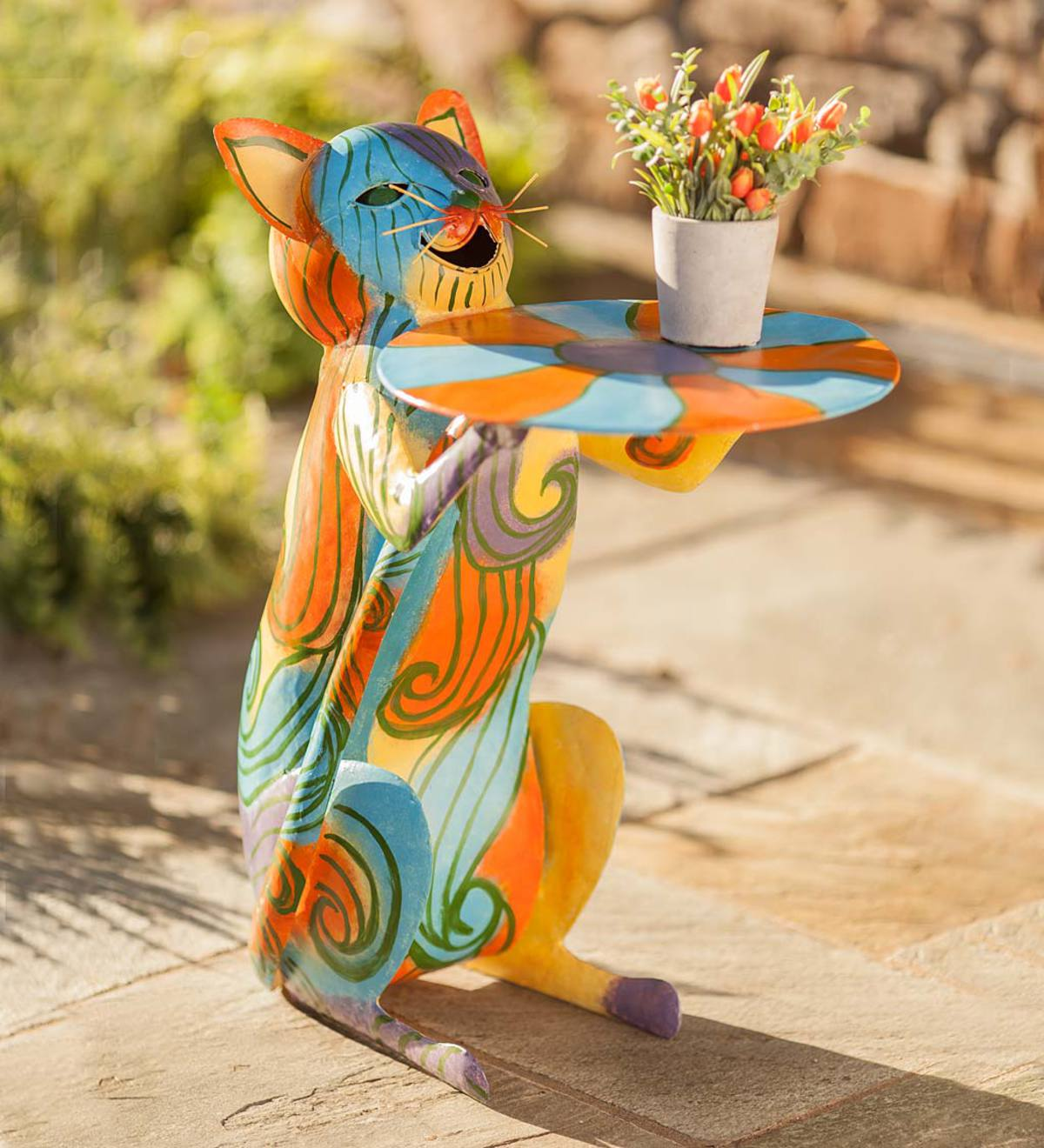 Colorful Metal Cat Side Table