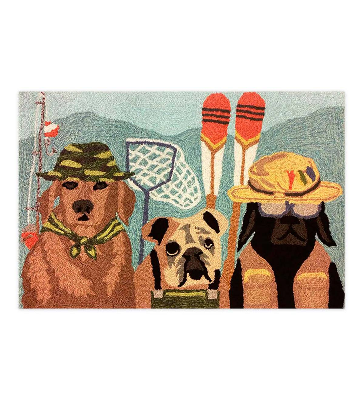 Fishing Dogs Rug
