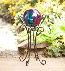 Rainbow Steel Gazing Ball and Spinning Butterfly Stand