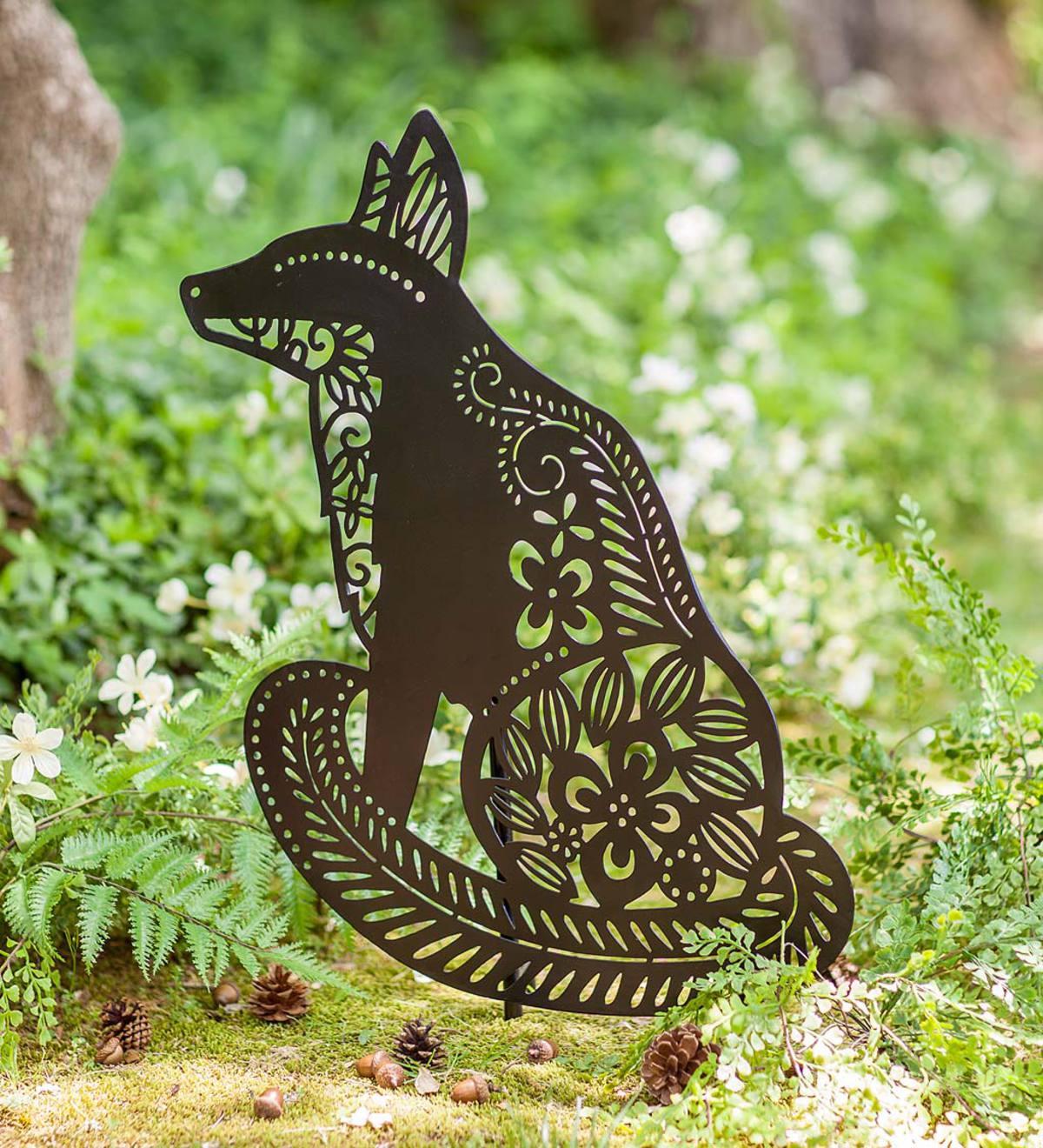 fox silhouette metal garden stake - Metal Garden Stakes