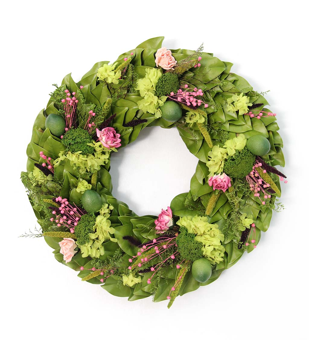 "Handcrafted 18"" Limes and Roses Preserved Wreath"