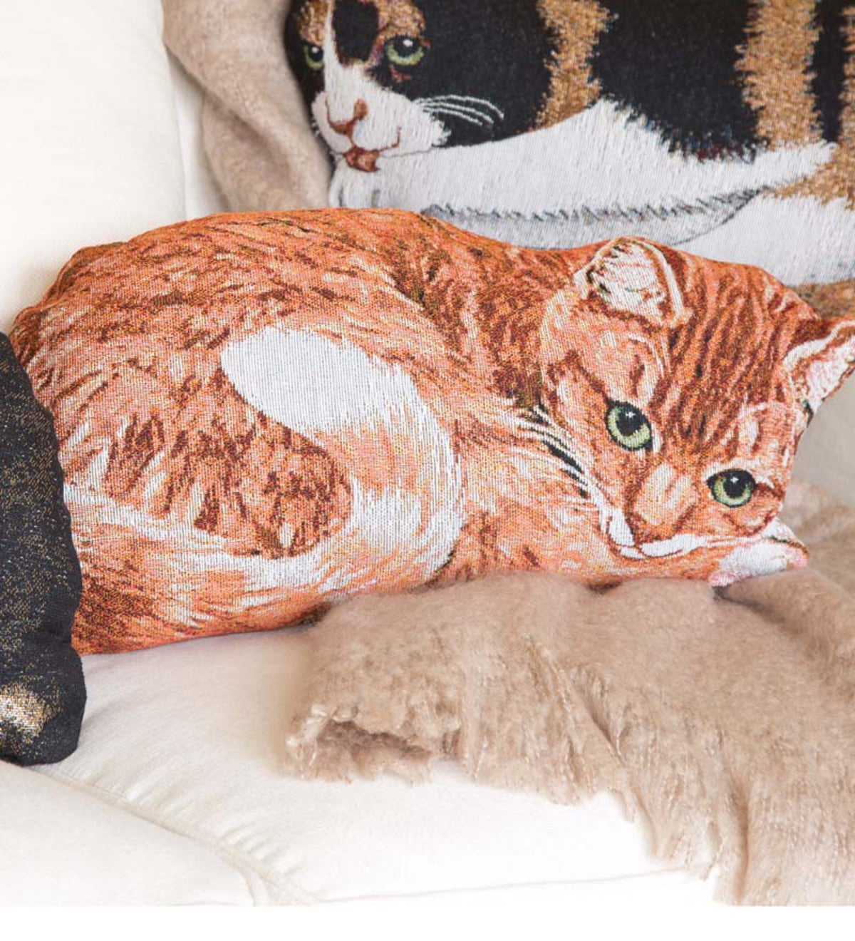 Cotton Jacquard Woven Tapestry Orange Tabby Cat Throw Pillow