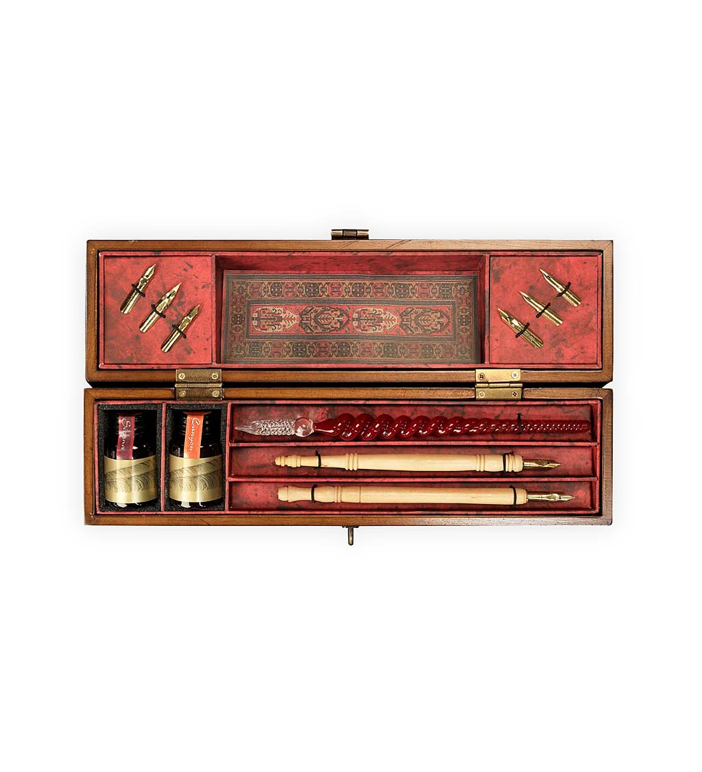 Pen and Ink Calligraphy Set in Antique-Style Wooden Box