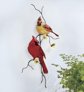 Handcrafted Enamel Glass and Copper Cardinal Wall Sculpture