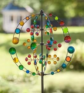 Multi-Colored Multi-Directional 5-Tiered Metal Wind Spinner