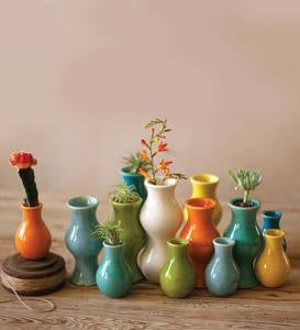 Colorful Small Ceramic Vases, Set of 13