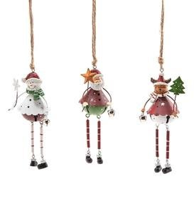 Metal Christmas Ornament with Bell, Set of 3