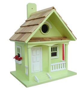 Wood Cottage Birdhouse with Flowerboxes - Key Lime Green