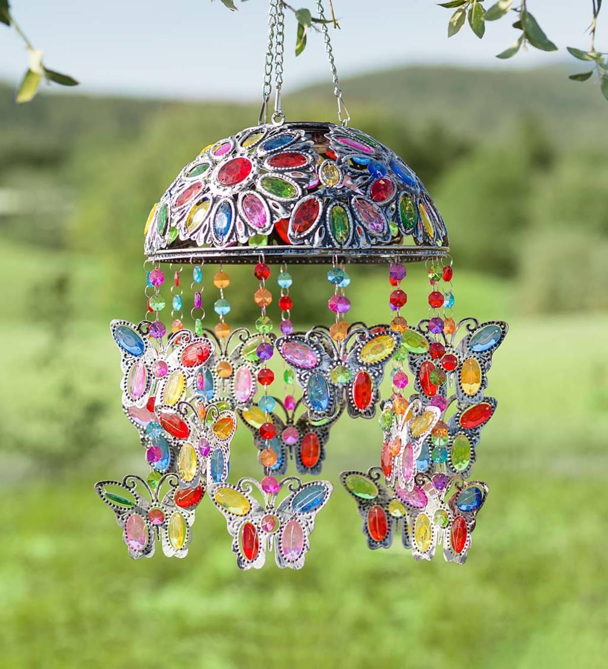 Solar Powered Butterfly Flower Bird Wall Light Lantern Light Plaque Garden