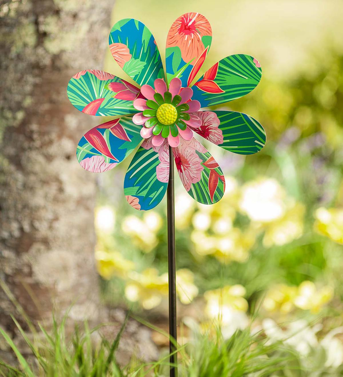 Tropical Print Wind Spinner
