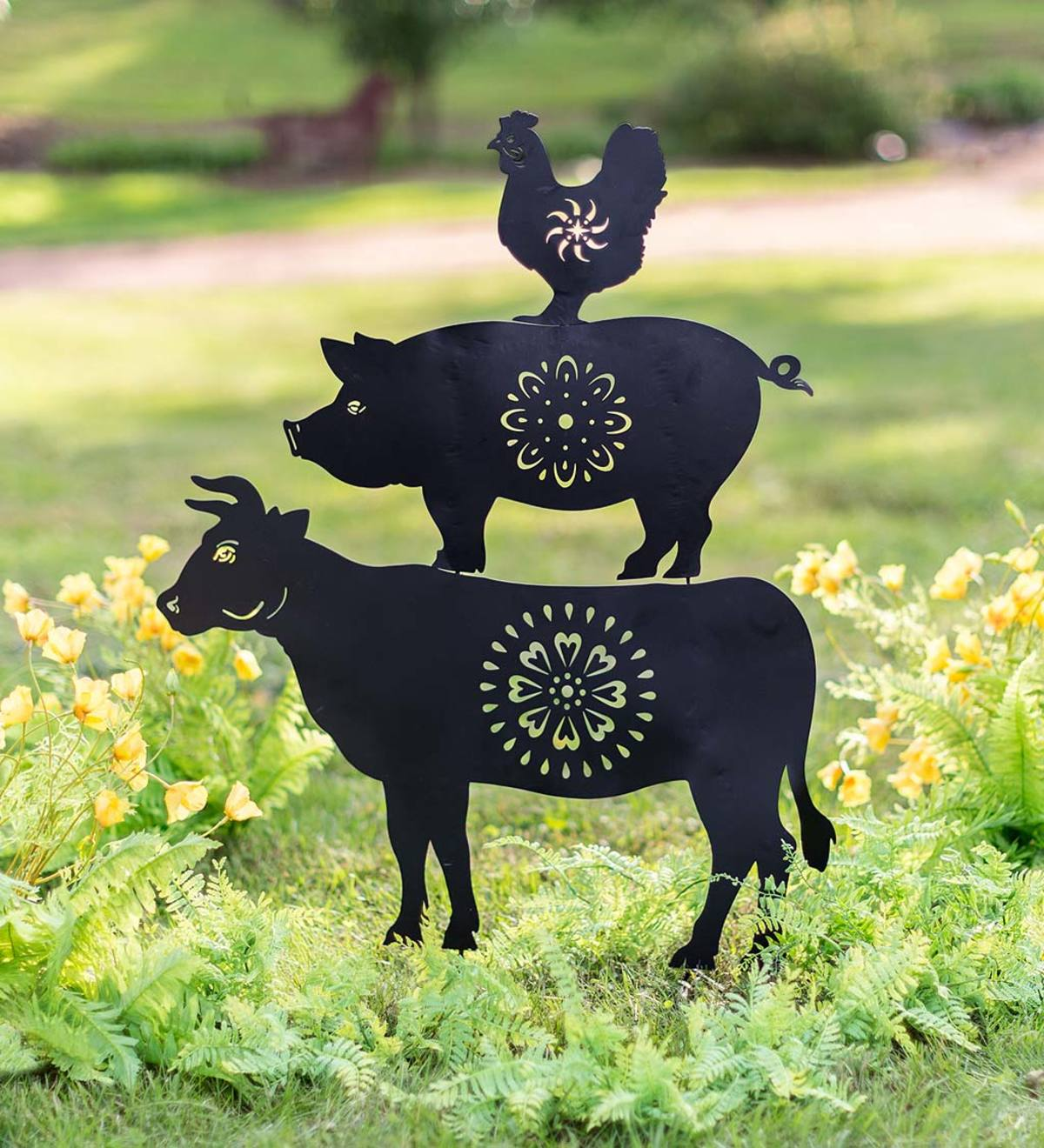 Farm Animal Trio Metal Garden Stake