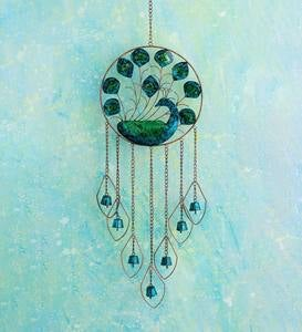 Colorful Turquoise Metal Peacock Wind Chime