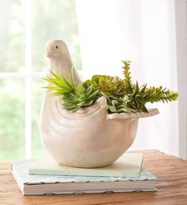 Handcrafted Ceramic Dove Planter