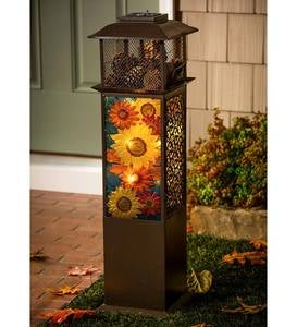 Large Solar Glass Panel Sunflowers Statement Lantern