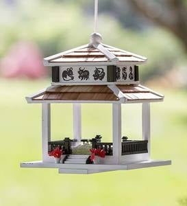 Chinese Zodiac Wooden Pagoda Bird Feeder