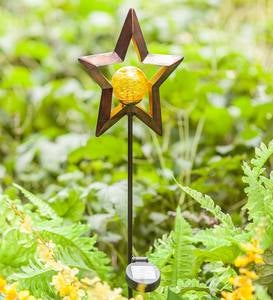 Solar Lighted Metal Star Garden Stake