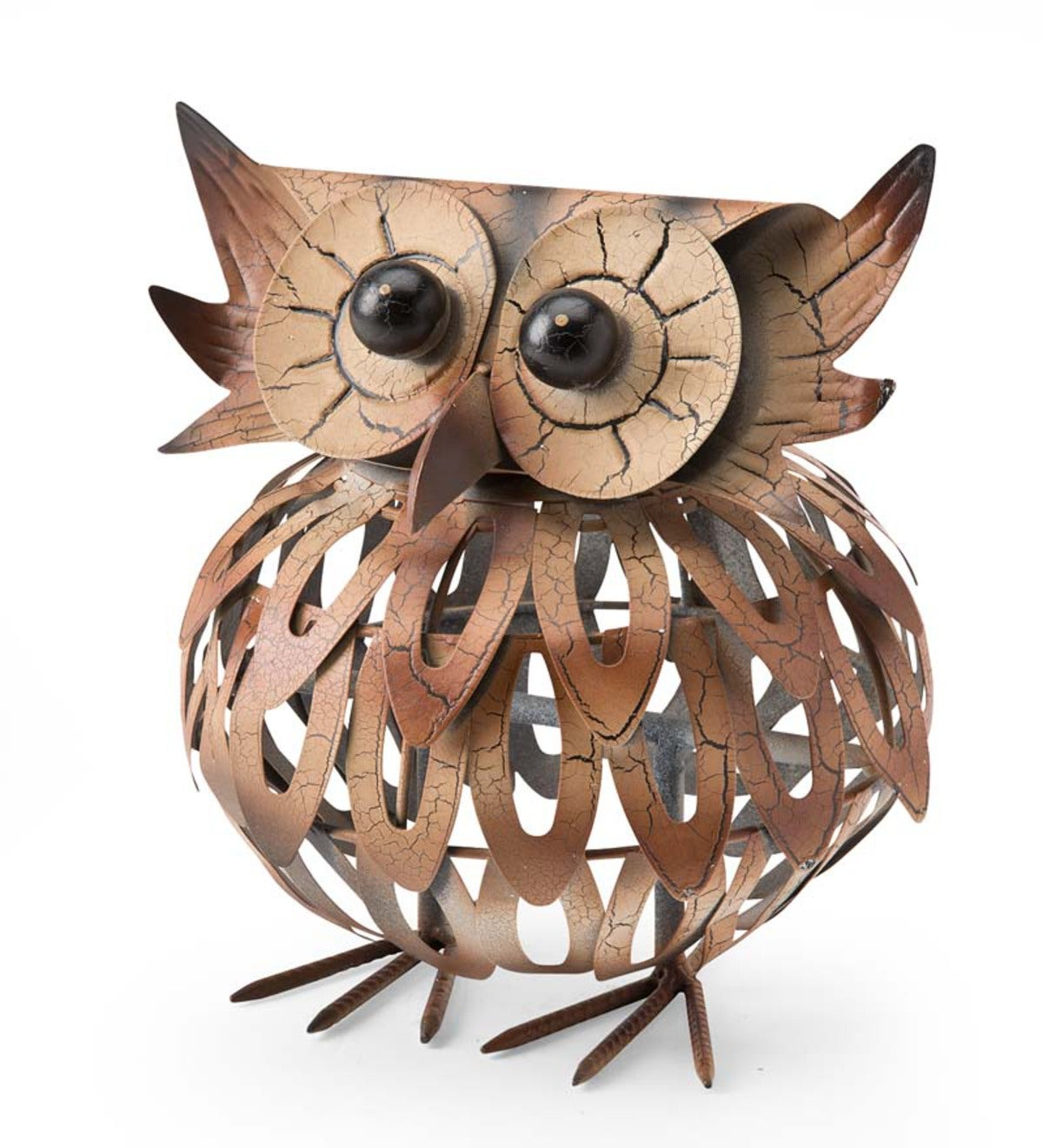 Ernie The Owl Metal Garden Statue   Wind and Weather