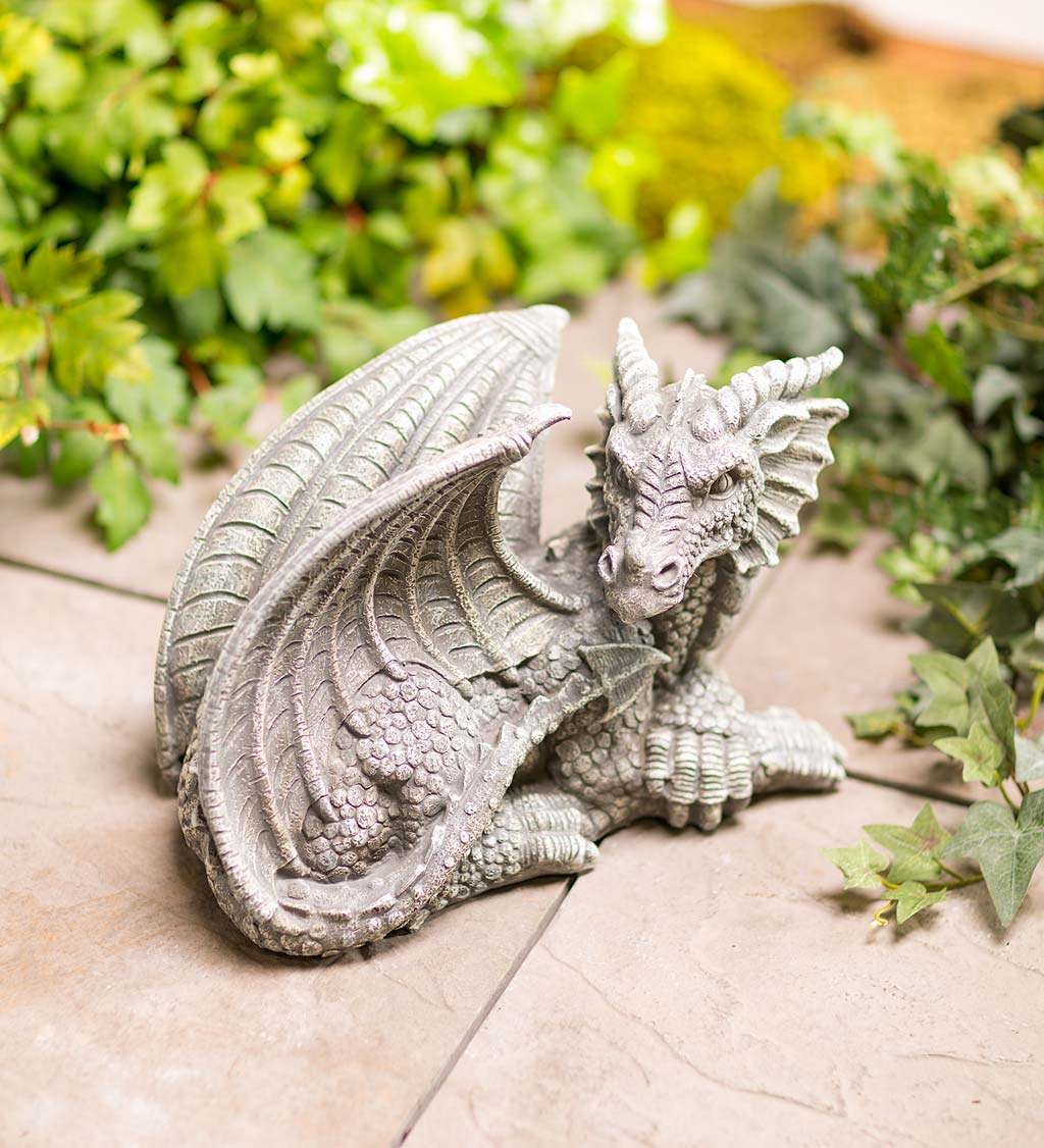 Indoor/Outdoor Resin Dragon Sculpture With Look of Carved Stone