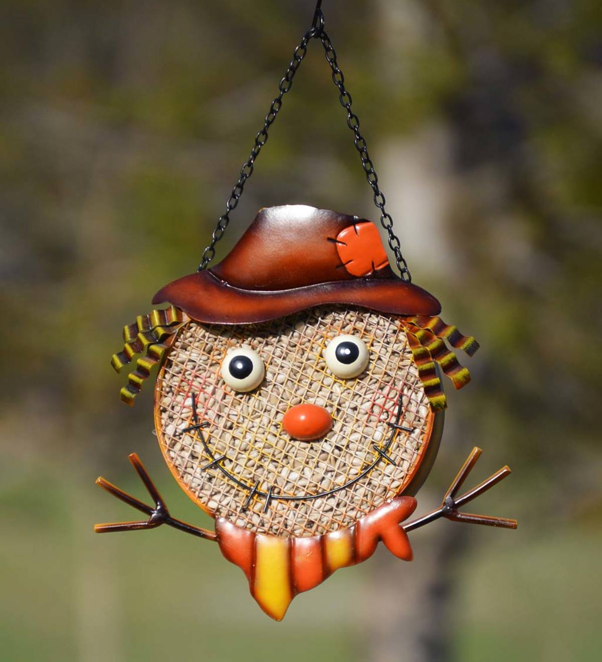 Colorful Hanging Metal Mesh Scarecrow Face Bird Feeder
