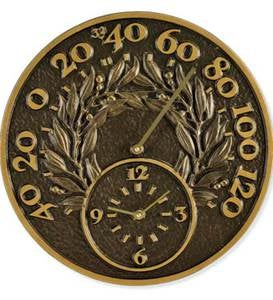 Bay Leaf Thermometer/Clock - Bronze