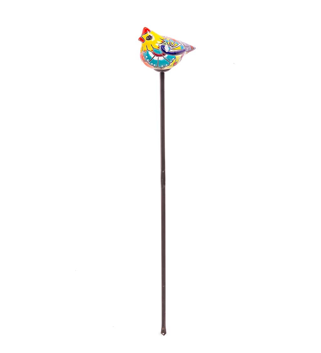 Handcrafted Talavera-Style Ceramic Bird Decorative Garden Stake