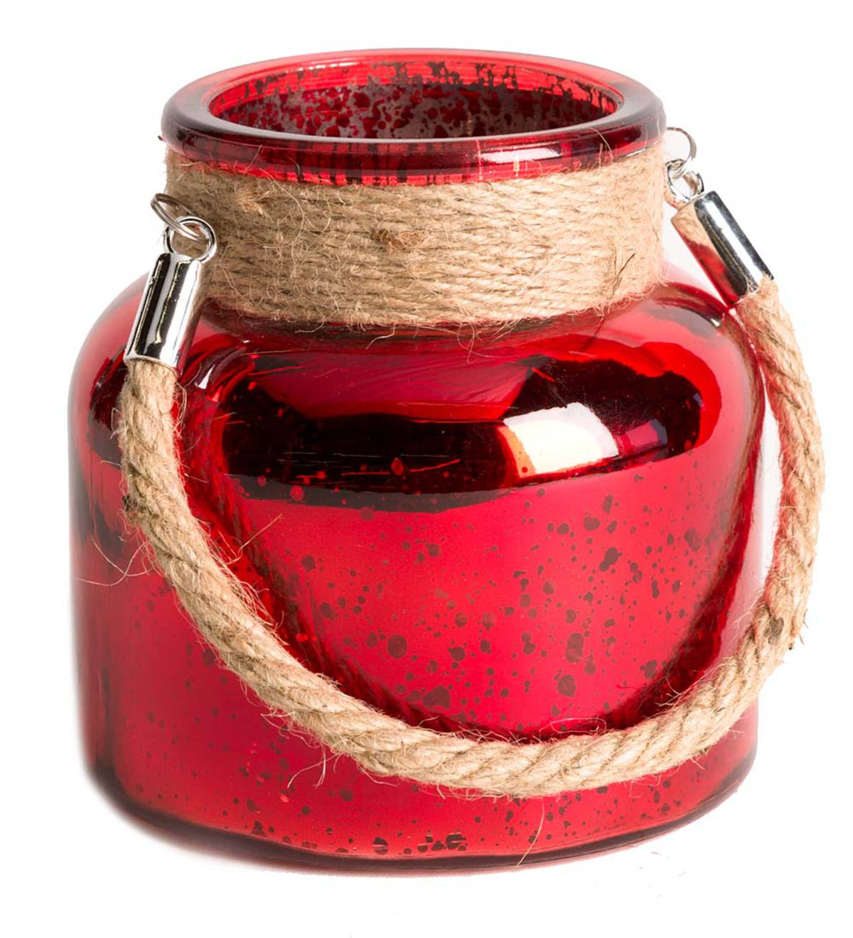 Mercury Glass Jar with LED Lights - Red